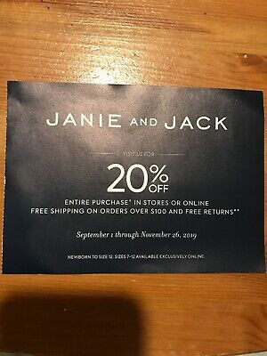 Janie and Jack 20% Off coupon, Code sent ASAP Exp 11/26