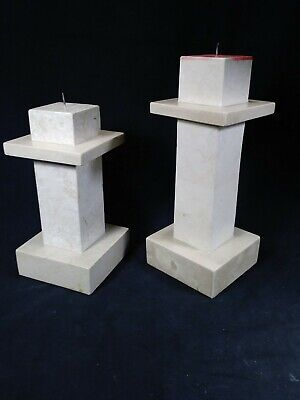 2 Tessellated Stone Column Pedestal Candles~Marquis Collection of Beverly Hills