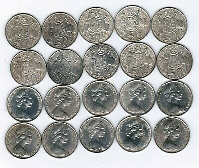 10 X Australian 1966 Round Fifty Cent Pieces Silver
