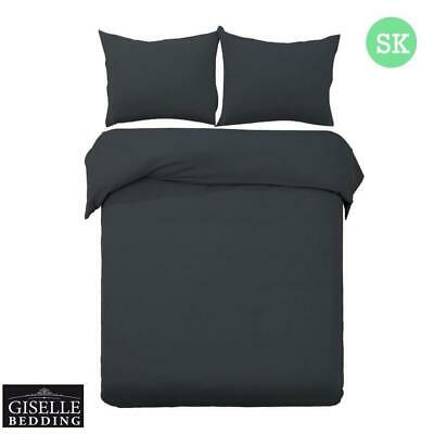 Giselle Bedding Quilt Cover Set Classic Super King Bed Duvet Doona Hotel Black