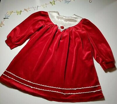 Winnie the Pooh Size 6X Girls Red Velvet Satin Accent Dress Holiday Vintage
