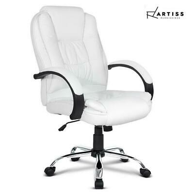 RTS Artiss Office Chair Computer Chairs Executive Premium Padded PU Leather Whit