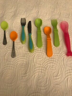 Toddler Silverware Lot Nuk Take And Toss 8 Pieces Total