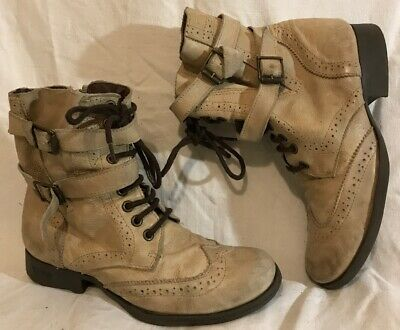 Girls River Island Cream Leather Boots Size 2 (740Q)