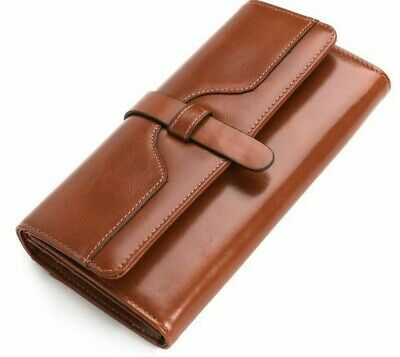 Fashion Women Men Genuine Cowhide Leather ID Credit Card Holder Bifold Purse