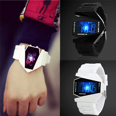 Cool Men Women Electronic Aircraft Wrist Watch Unisex Colorful LED Sport Watch
