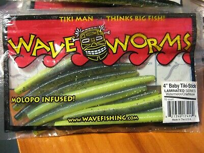 """Pick Quantity /& Color 4/"""" Baby Tiki-Stick Soft Plastic Fishing Wave Worms"""