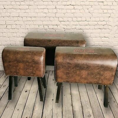 Retro Coca Cola Brown Vintage Style Pommel Horse Faux Leather Foot Stool Seat