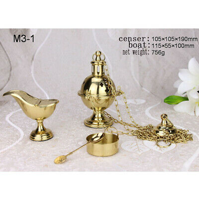 Custom Thurible Brass Hanging Censer Burner with Boat Church /Home Incense Altar