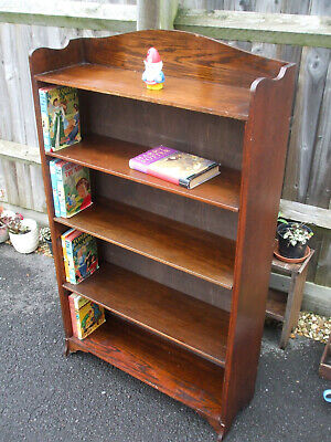 Antique vintage Edwardian oak bookcase, adjustable shelves, useful size