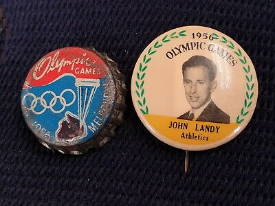 1956 Melbourne Olympics John Landy Pin And Olympic Glames Bottle Cap
