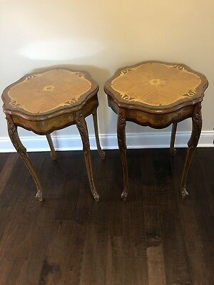 Antique Inlaid Wood End Tables With Carving~Beautiful!! Set Of Two!! Unique!!