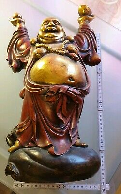 Big XXL Lucky Buddha Vintage atique Patina Nude godness King solid wood colour