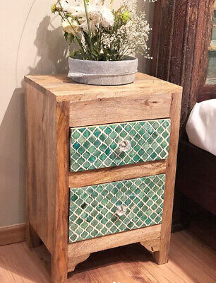 Handmade Mother of pearl Inlay Green Moroccan Bedside Table