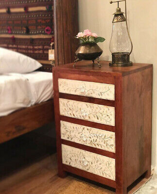 Handmade Mother of pearl Inlay Floral White Bedside Table