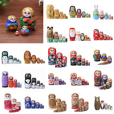 5-10pcs Russian Matryoshka Wooden Nesting Dolls Hand Painted Gift Decor Crafts