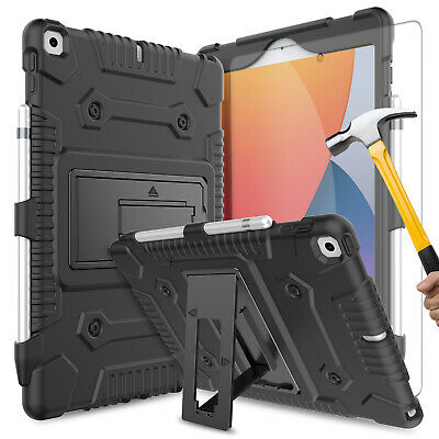 For iPad 10.2 7th Generation Gen 2019 Case Stand Silicone Cover+Screen Protector