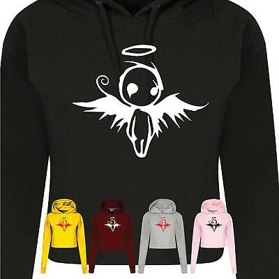 Doll Angel Jumper Gothic Funny Halo Wings Ladies Funny Scoop Women Crop Hooded