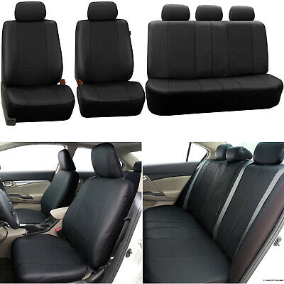 11Pcs Universal Black Leather Look Car Seat Covers Protectors Airbag Compatible