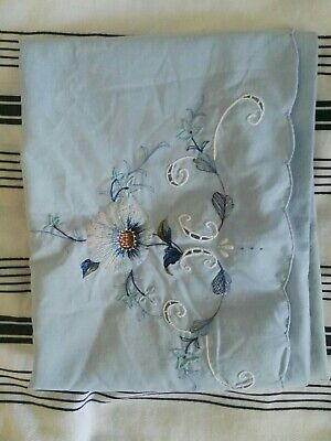 Vintage floral Embroidered Blue Pillowcase. Shabby chic.