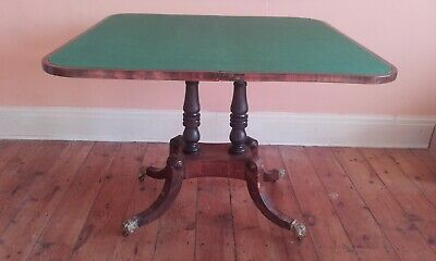 Antique Georgian ? Large Folding Card Poker Table Wooden Veneer Claw Foot Wheels