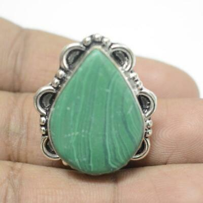 Green Malachite 925 Sterling Silver Plated Ethenic Jewelry Adjustable Ring Rg915