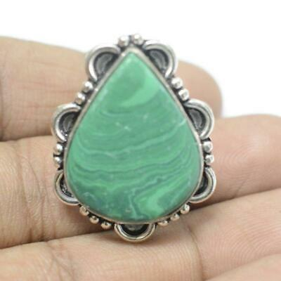 Green Malachite 925 Sterling Silver Plated Ethenic Jewelry Adjustable Ring Rg917