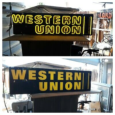 Western Union Electric Two Sided Sign-Neon Letters 1 Side Other Side Backlit