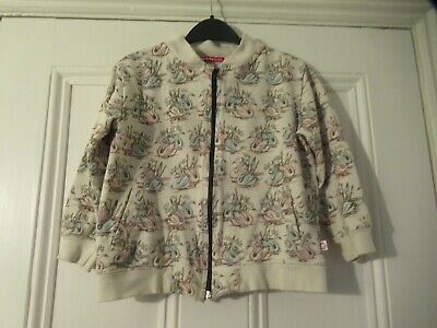 6-7 yrs: Stylish zip-thru jacket/cardigan: Beige + pink/blue SWANS: Oh Baby