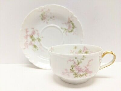 Antique H&C Co. L France Haviland Limoges France Tea Cup & Saucer Pink Floral
