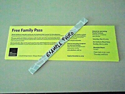 Art Institute of Chicago Museum Family Pass 4 adults plus all kids Free Ship