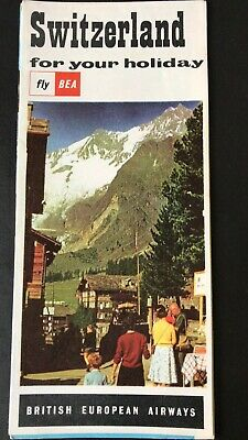 Switzerland for your Holiday BEA AIRLINES Approx 1960 MINT