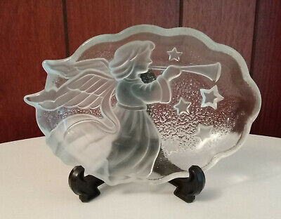Mikasa Frosted Glass Christmas Angel Song Frost Sweet Dish Box Candy Bowl (MB1)