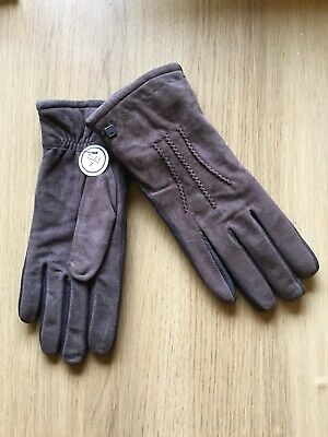 Ladies Brown Leather And Suede Gloves. Cashmere Lined .Size 7