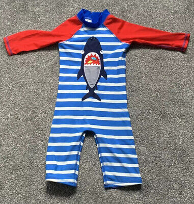 Blue Zoo Boys All In One Red & Blue Swimsuit  Age 2-3 Years Shark Design