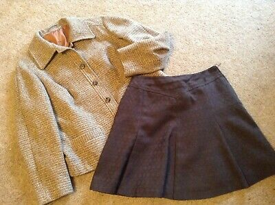 Vintage 1960's/70's: MOD/Scooter:  Tweed Collared Jacket & A-Line Mini Skirt
