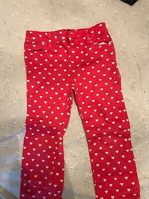 girls baby gap age 5 pink and white love heart skinny stretch trousers