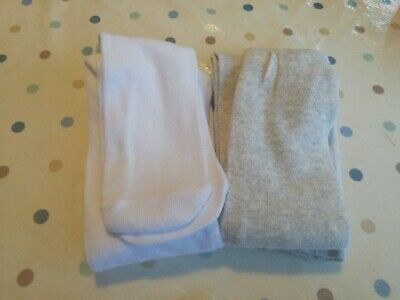 Girls White And Grey Tights Age 4-5 Bnwot