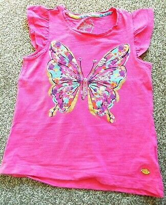 Girls Butterfly Pink T Shirt Short Sleeves Top Age 5 years