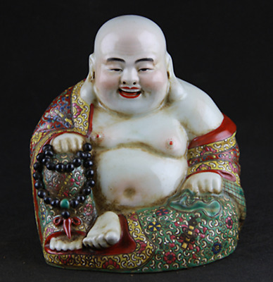"""6.3""""Collect China Famille-rose Porcelain Happy Laugh Maitreya Buddha Sit Statue"""
