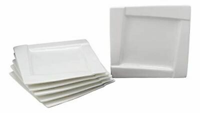 Ebros Pack Of 6 Dining Contemporary White Porcelain 7 Inch Square Plates