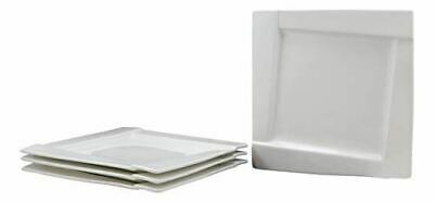 Ebros Pack Of 4 Dining Contemporary White Porcelain 10 Inch Square Dinner Plates