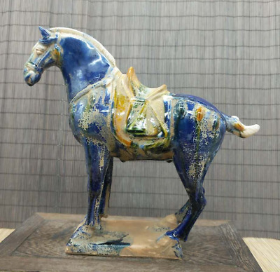 Collect China Ceramics Tri-Color Glazed Pottery Tang Dynasty War-horse Statue