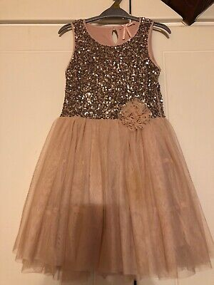Stunning Next Girls Blush Pink Sequin Xmas/Party Dress Age 8 Years