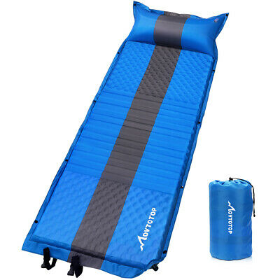 Inflatable Sleeping Mat Ultralight Camping Air Pad Roll Bed Mattress w/Pillow