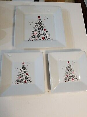 """Food Network HOLIDAY TREE 2 6"""" Square Appetizer & 1 8"""" Plates Linzer Christmas"""