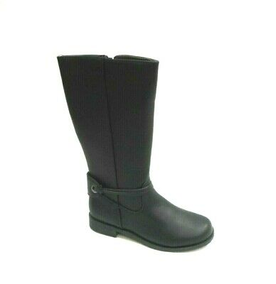 Girls Black Mid Knee High Winter Riding School Zip Up Boots,Uk 10-3 5
