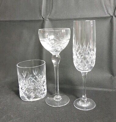 Beautiful 3  Quality Crystal Wine, Champaign and Whiskey Glasses