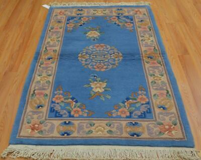 3'6 x 5'9 Plush Vintage Genuine Chinese Aubusson Oriental Hand Knotted Wool Rug