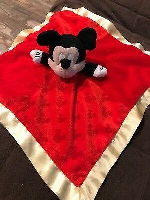 MICKEY MOUSE Disney Baby Plush Lovey Security Snuggle Blanket Kids A4